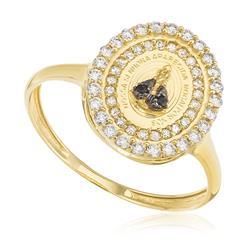bb342640bed31 Anel de Ouro Nossa Senhora Aparecida com 2 Safiras e 51 Pts em Diamantes