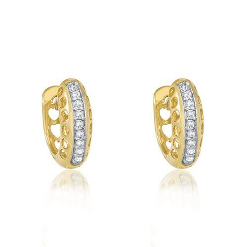 Par de Brincos Argolas Corações com 18 Diamantes, em Ouro Amarelo 2a82071c25