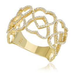 Anel Corações com 174 Diamantes, em Ouro Amarelo