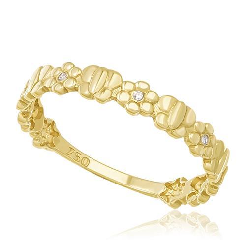 Anel Borboletas E Flores Com 3 Diamantes, Em Ouro Amarelo