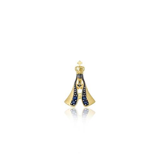 Pingente Nossa Senhora com 4 Safiras, em Ouro Amarelo