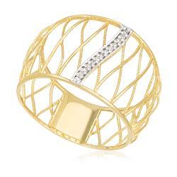Anel Vazado com 13 Diamantes, em Ouro Amarelo