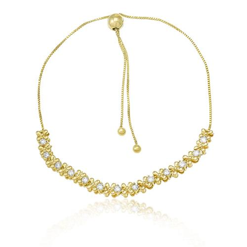 Pulseira com Trevinhos e Diamantes, em Ouro Amarelo