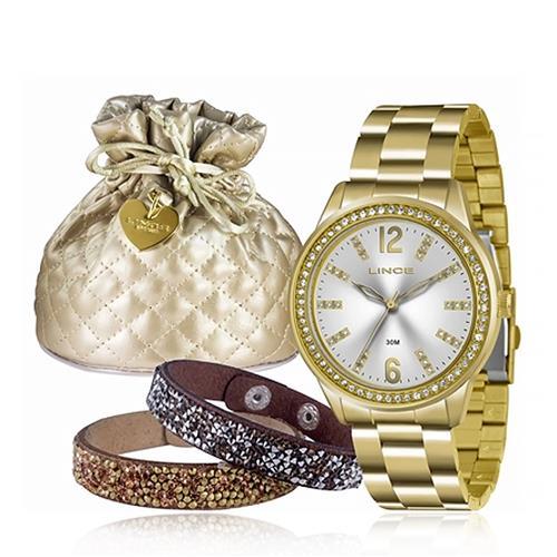 Relógio Feminino Lince Analógico LRG4371L K179 Kit com Braceletes