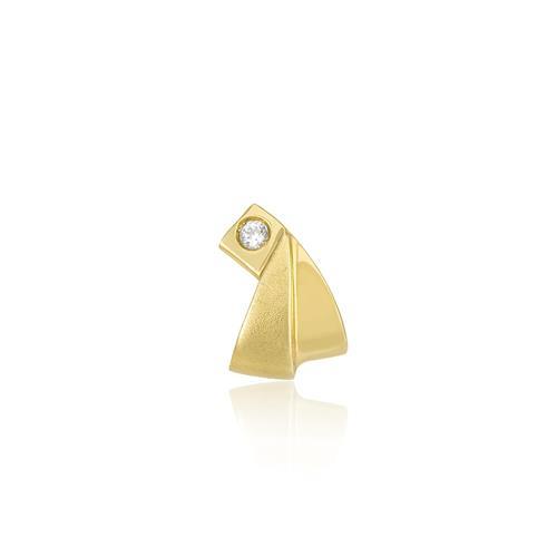 Pingente Moderno com Zircônia, em Ouro Amarelo