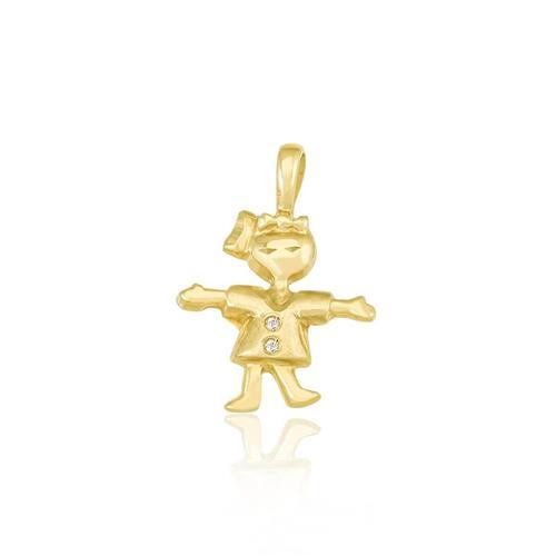 Pingente Menina com 2 Diamantes, em Ouro Amarelo