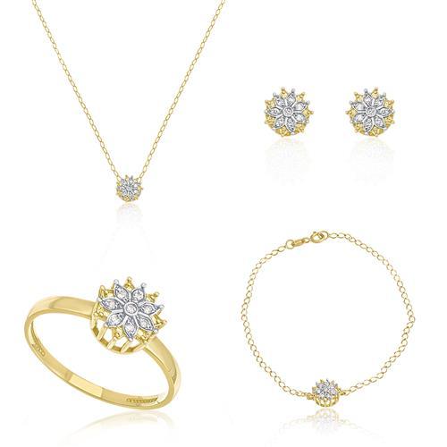 Conjunto floral com 40 Diamantes, ouro amarelo