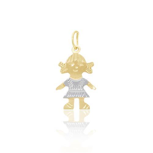Pingente de ouro Menina com Vestido em Ródio 64ef30ada2bfc