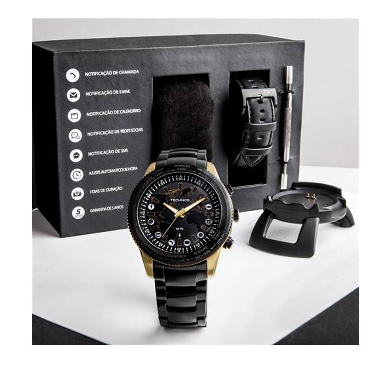 f2c33f28e3842 Relógio Masculino Technos Connect 753AA 4P Aço Misto