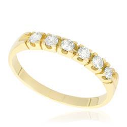 Meia Aliança com 6 Diamantes totalizando 14 Pts, em Ouro Amarelo