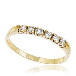 Meia Aliança com 6 Diamantes totalizando 22 Pts, em Ouro Amarelo
