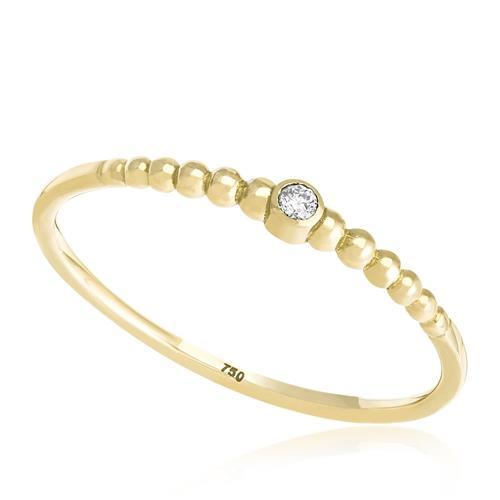 Anel Esferas com Diamante de 2 Pts, em Ouro Amarelo