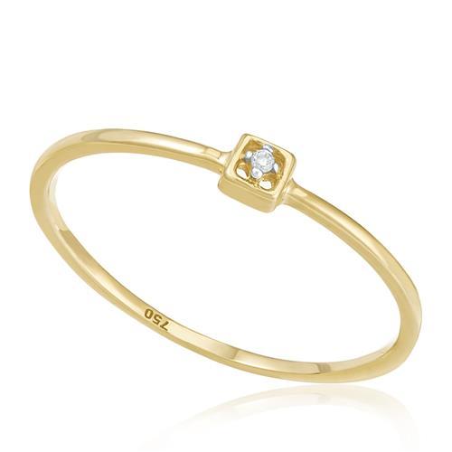 Anel Solitário com Diamante, em Ouro Amarelo