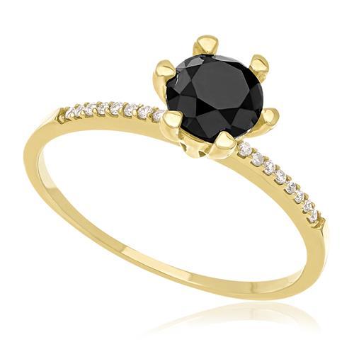 d83e3b979ce1c Anel Solitário com 16 Diamantes Laterais e Diamante Negro de 1