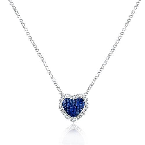 7bbbbd0f5ed13 Corrente com Pingente Coração com Diamantes e Safiras