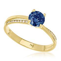 Anel Solitário com 20 Diamantes Laterais e Diamante Azul de 1,0 Ct, em Ouro Amarelo