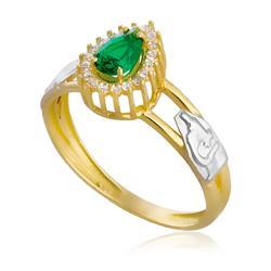 Anel de Formatura Gota com Diamantes e Gema em Ouro Amarelo