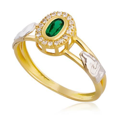 Anel de Formatura com Diamantes e Gema Oval, em Ouro Amarelo