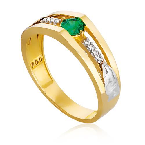 Anel de Formatura com Diamantes e Gemas, em Ouro Amarelo