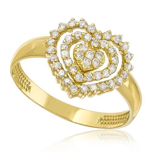 Anel Coração com 46 Diamantes, em Ouro Amarelo com Detalhes em Ródio