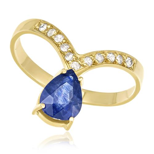 Anel com Diamantes totalizando 11 pts. e Safira de 1,31 Cts., em Ouro Amarelo