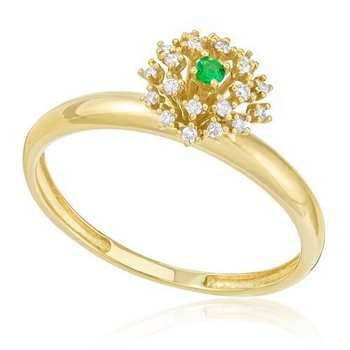 Anel com Esmeralda e 5 Pts em Diamantes, em Ouro Amarelo