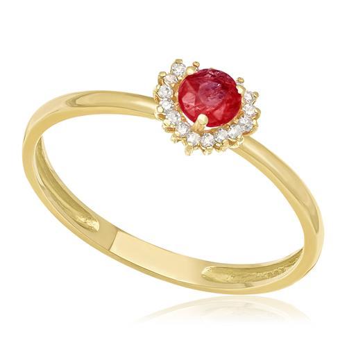 89fe8b469dac6 Anel Coração com Diamantes e Rubi, em Ouro Amarelo