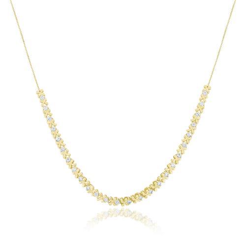 Gargantilha com Malha Veneziana e Diamantes, em Ouro Amarelo