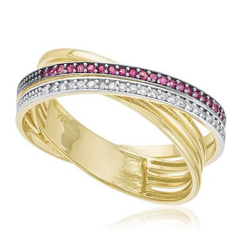 Anel com Aro Trançado e Diamantes e Rubis, em Ouro Amarelo