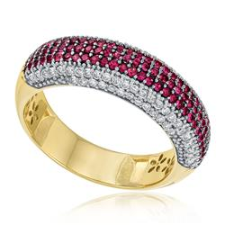 Anel com 38 Pts em Diamantes e 52 Pts em Rubis, em Ouro Amarelo