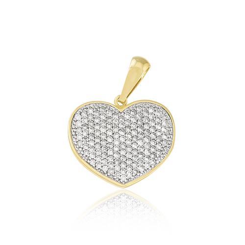d4943b072a187 Pingente de ouro Coração com 65 Pts em Diamantes