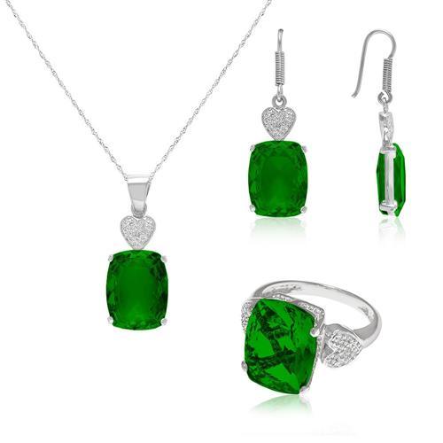 Conjunto de prata com Blue Green