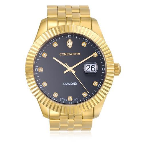 Relógio Constantim Diamond Gold Black ZW20065U Fundo Preto