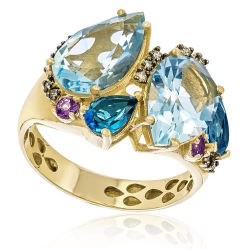 Anel com Topázios, Águas Marinhas, Ametistas e Diamantes, em Ouro Amarelo