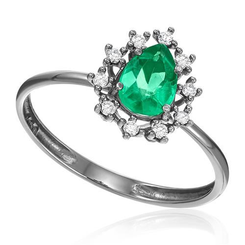 1c235b333703d Anel Gota com Esmeralda de 62 Pts e Diamantes, em Ródio Negro