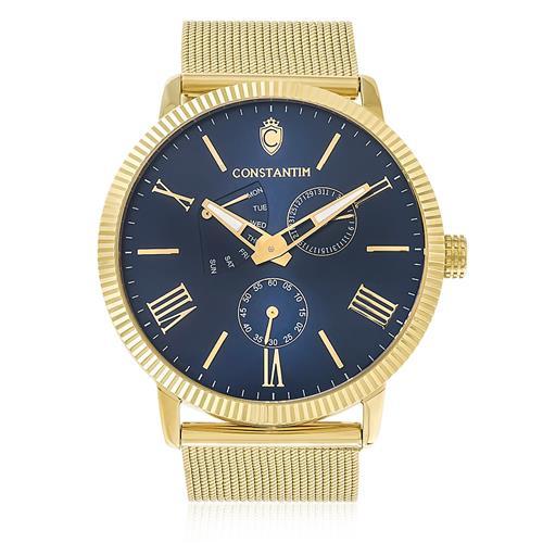 Relógio Masculino Constantim Gold Blue ZW20083A Fundo Azul