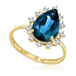 Anel Gota com Topázio London Blue e Diamantes, em Ouro Amarelo