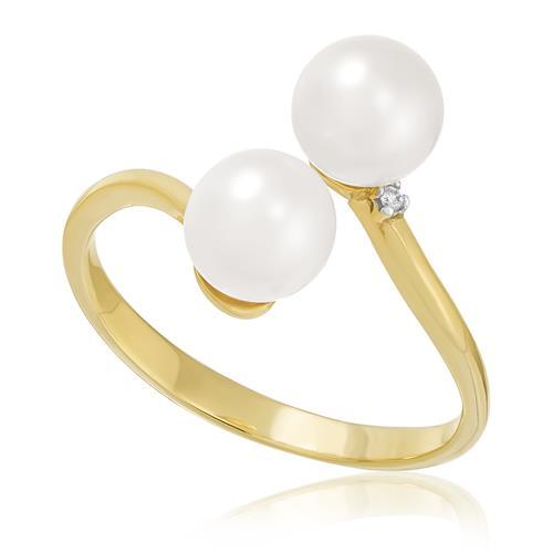 Anel Aro Aberto com Pérolas de 6,5 mm e Diamantes, em Ouro Amarelo