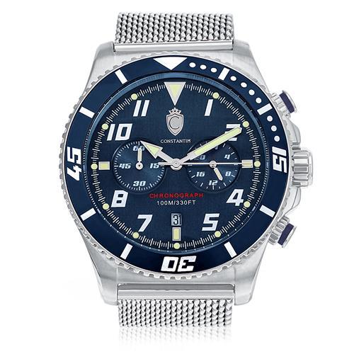 Relógio Masculino Constantim Silver Blue Analógico ZW30214F Aço