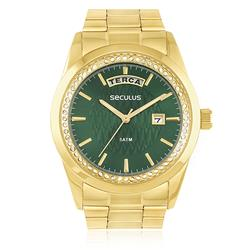 Relógio Seculus Analógico 28839LPSVDS6 Fundo Verde