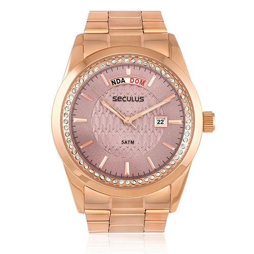 9456f166b79 Relógio Feminino Seculus Analógico 28839LPSVRS2 Fundo Rosa