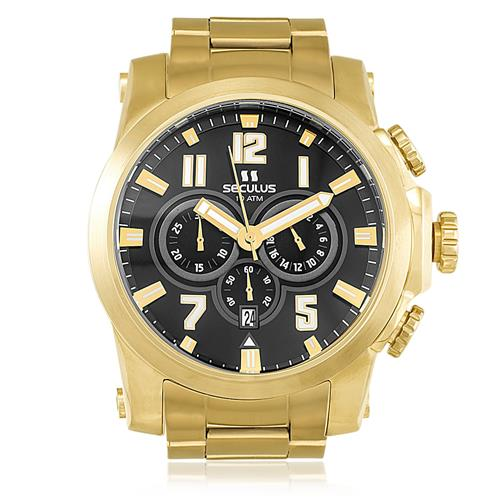 84293abc073 Relógio Masculino Seculus Chronograph 13005GPSVDA2 Dourado
