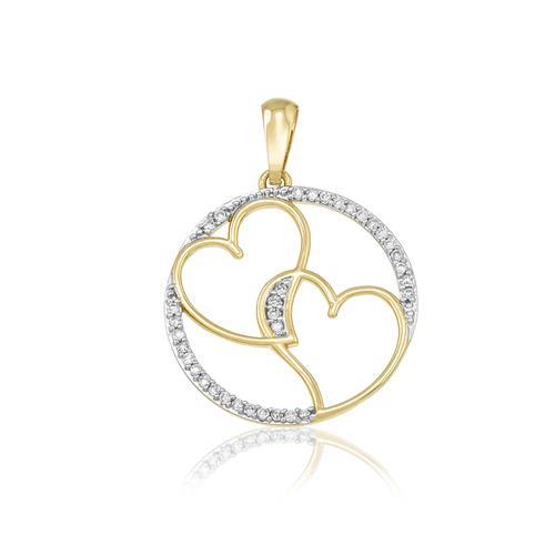 Pingente Corações com 17 Pts em Diamantes, em Ouro Amarelo