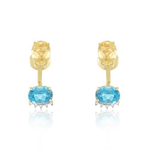Par de Brincos com Citrinos, Topázios Swiss Blue e Diamantes, em Ouro Amarelo