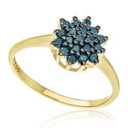 Anel com 19 Diamantes Azuis totalizando 57 Pts, em Ouro Amarelo