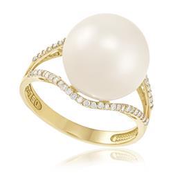 Anel com Pérola de 12 mm e 54 Diamantes, em Ouro Amarelo