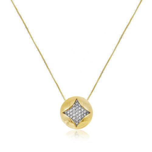 Corrente com Pingente com 17 Pts em Diamantes, em Ouro Amarelo