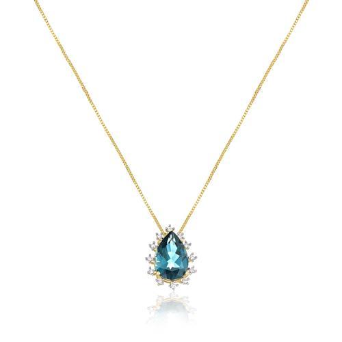 Corrente com Pingente Gota com Topázio London Blue e Diamantes, em Ouro Amarelo
