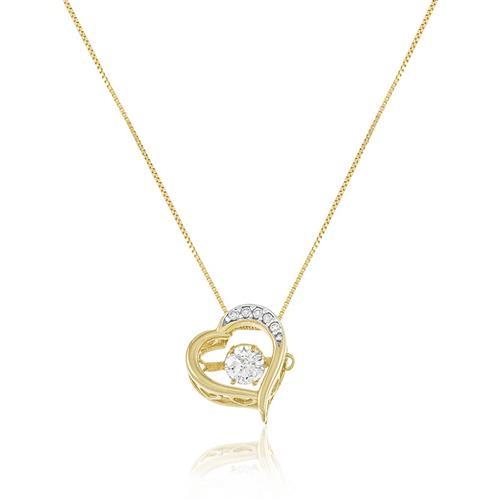 Corrente com Pingente Coração com Diamantes, em Ouro Amarelo