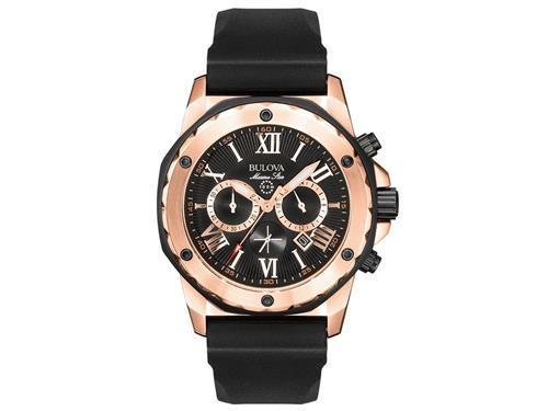 7962e367977 Relógio Masculino Bulova Marine Star Chronograph WB30873P Aço Rose